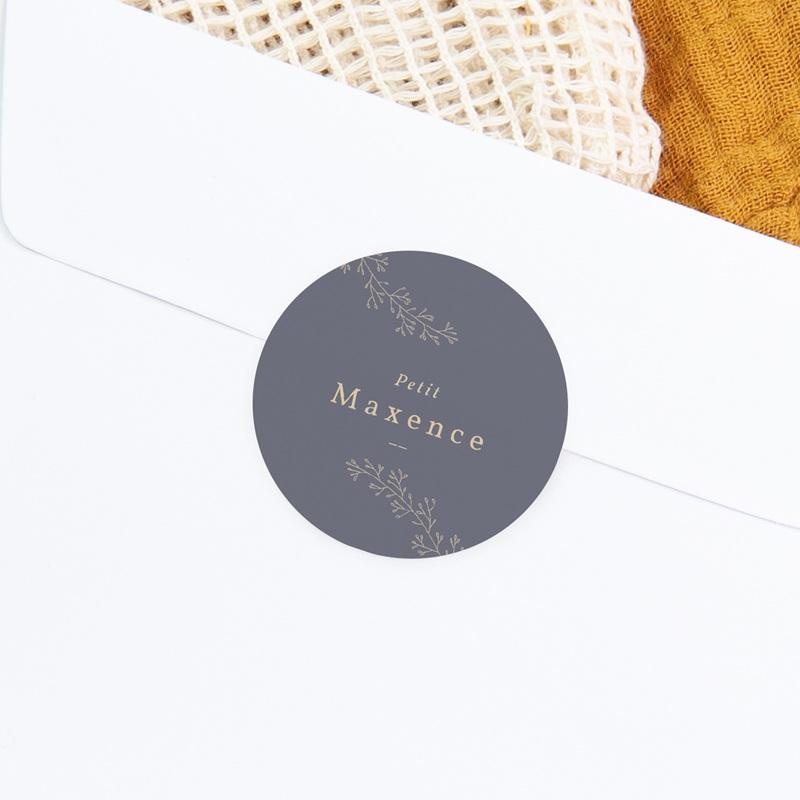 Sticker Enveloppe Naissance Couronne florale bleu vintage, sticker gratuit