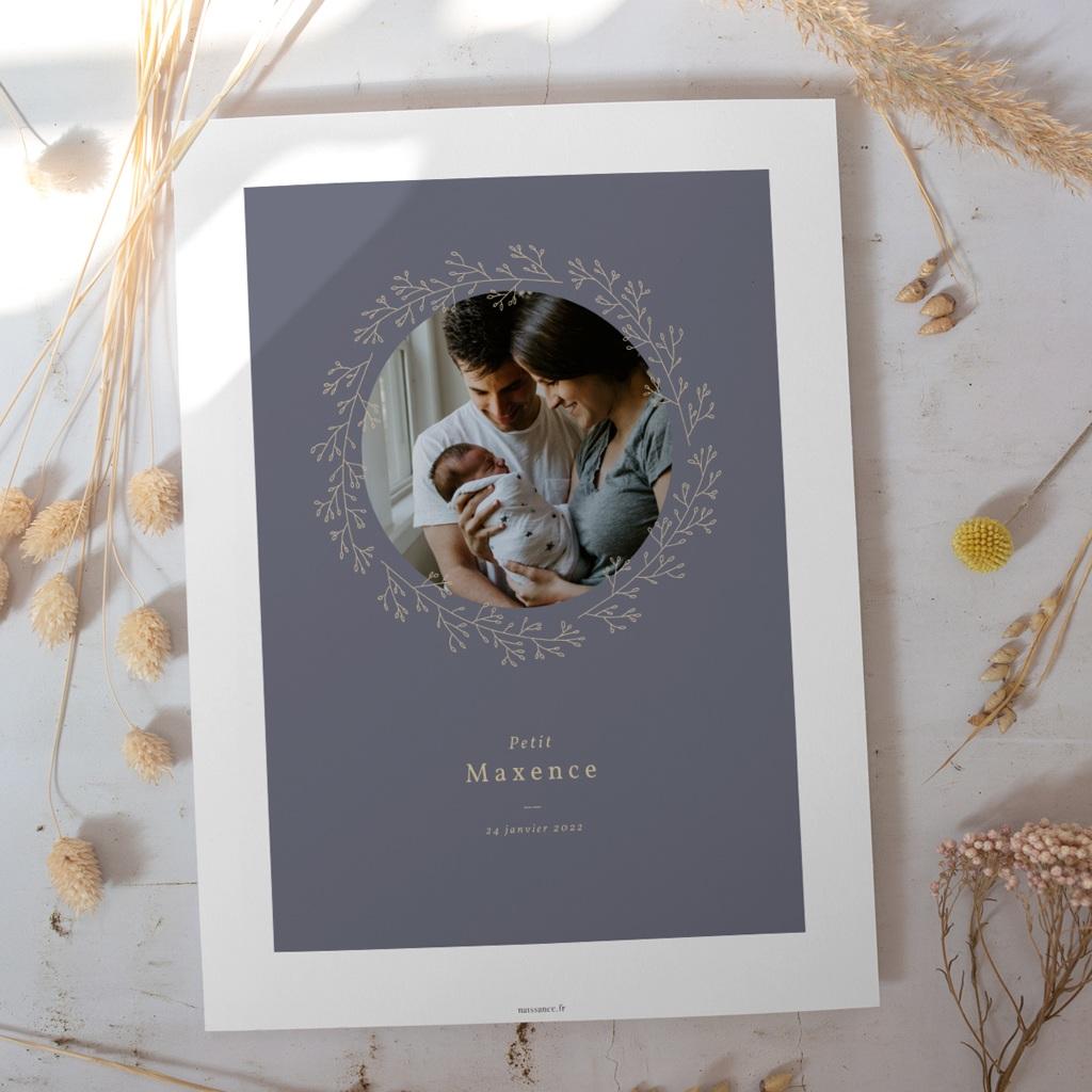 Affiche Déco Chambre Enfant Couronne florale bleu vintage, Photo gratuit