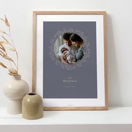 Affiche Déco Chambre Enfant Couronne florale bleu vintage, Photo pas cher