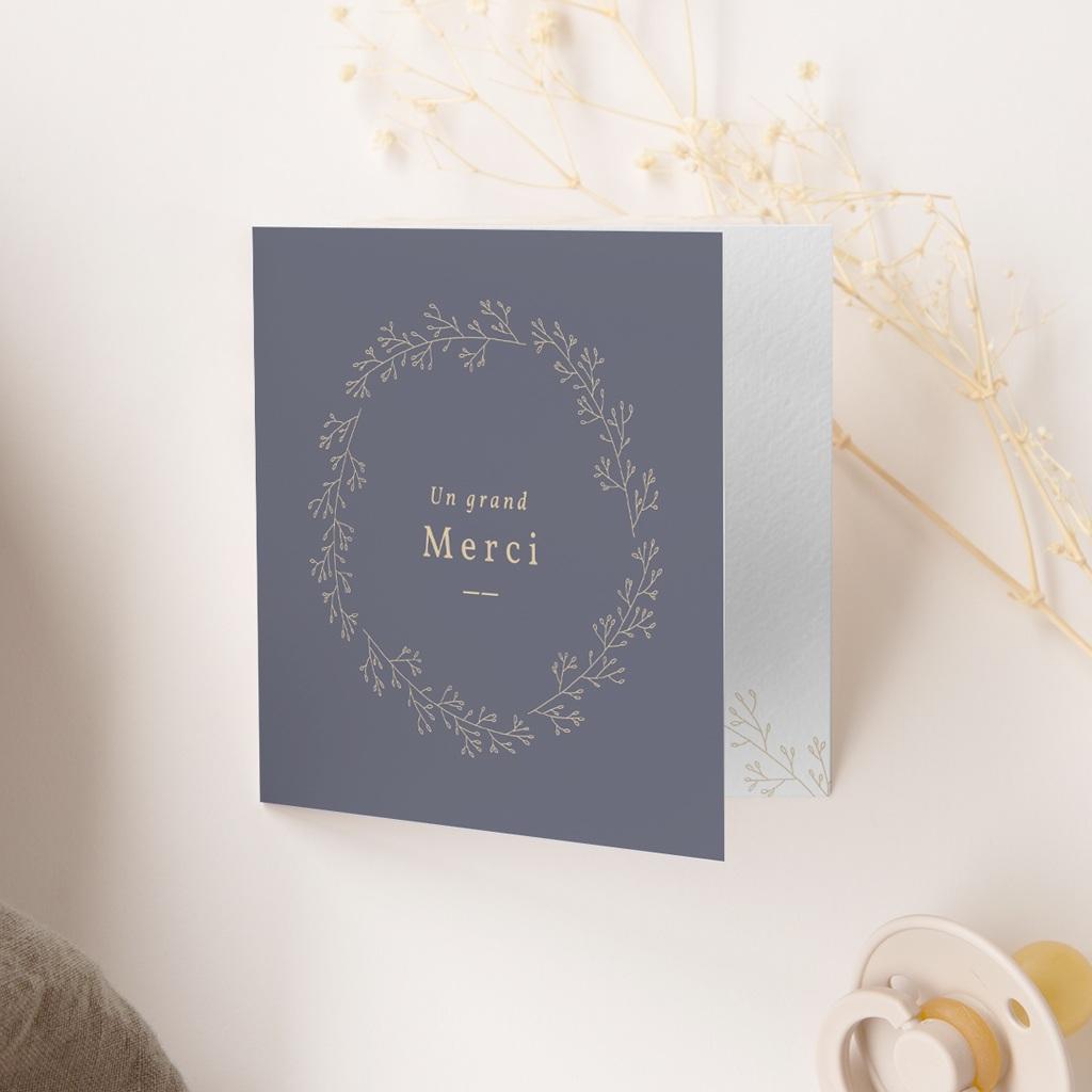 Carte de Remerciement Naissance Couronne Bleu Vintage, 9,5 x 9,5 cm gratuit