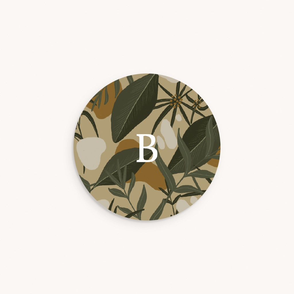 Sticker Enveloppe Naissance Tendres Tropiques, fond beige, sticker