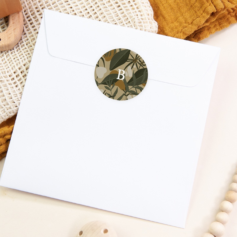 Sticker Enveloppe Naissance Tendres Tropiques, fond beige, sticker pas cher