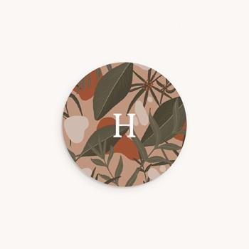 Sticker Enveloppe Naissance Tendresse Tropicale, fond rosé, sticker