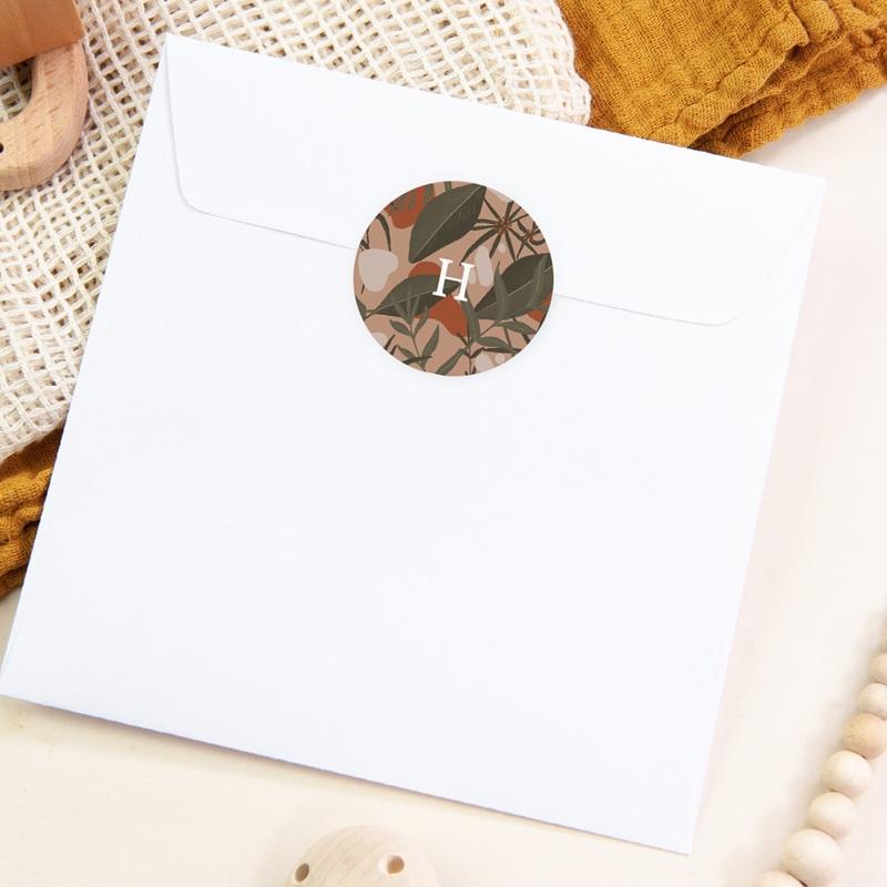Sticker Enveloppe Naissance Tendresse Tropicale, fond rosé, sticker pas cher