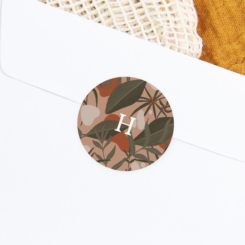 Sticker Enveloppe Naissance Tendresse Tropicale, fond rosé, sticker gratuit