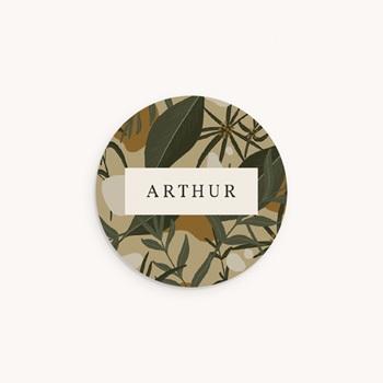 Sticker Enveloppe Naissance Prénom d'un aventurier, Tropical, 4,5 cm
