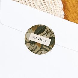 Sticker Enveloppe Naissance Prénom d'un aventurier, Tropical, 4,5 cm gratuit