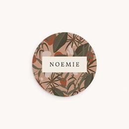 Sticker Enveloppe Naissance Prénom d'une aventurière, Jungle, 4,5 cm
