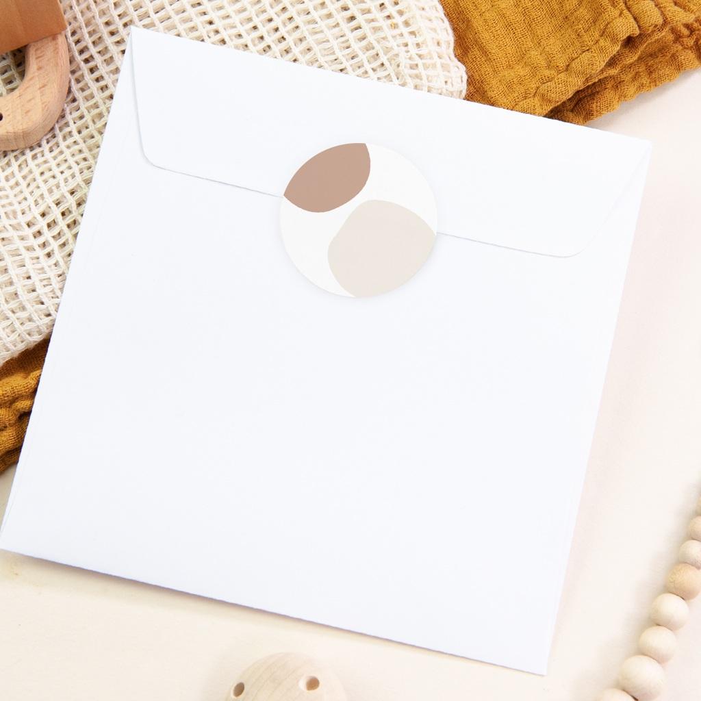 Sticker Enveloppe Naissance Mobile oies, tons naturels, 4,5 cm pas cher