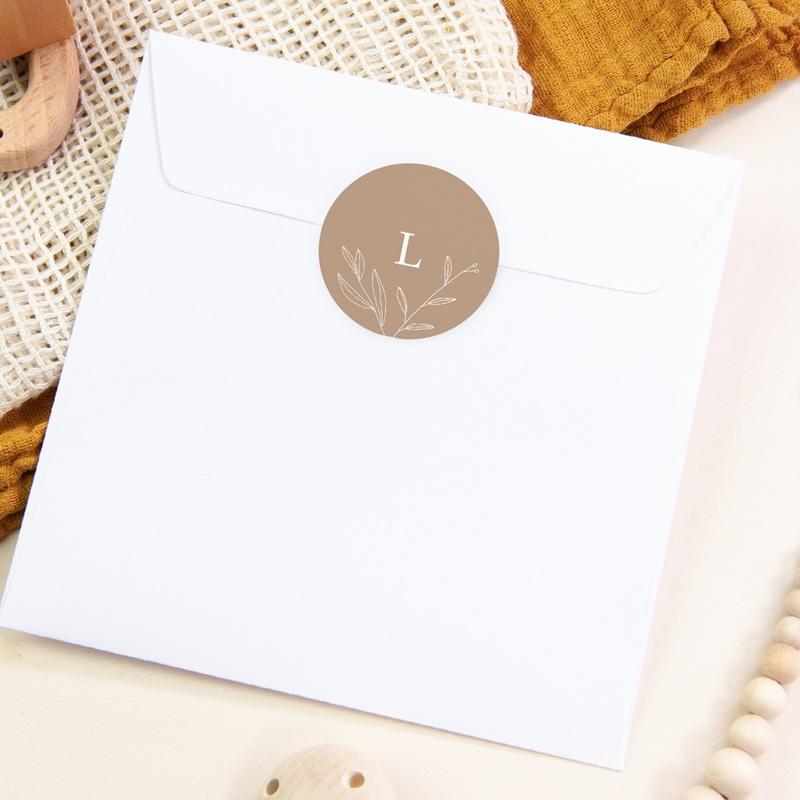 Sticker Enveloppe Naissance Initiale Champêtre, Sable, 4,5 cm pas cher