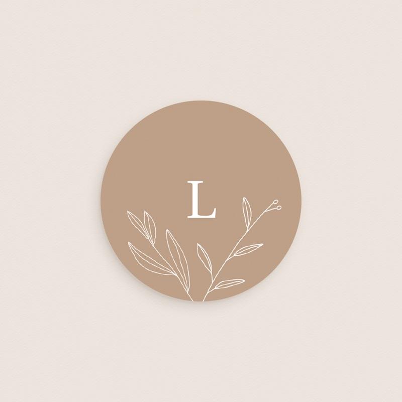 Sticker Enveloppe Naissance Initiale Champêtre, Sable, 4,5 cm gratuit