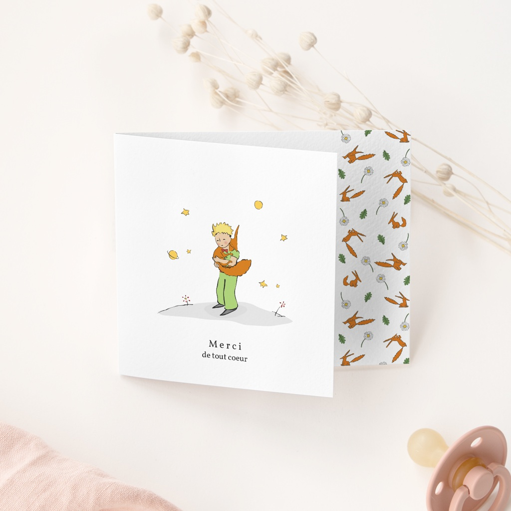 Carte de Remerciement Naissance Renard & Petit Prince gratuit