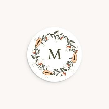 Sticker Enveloppe Naissance Couronne exotique, papayes & fleurs