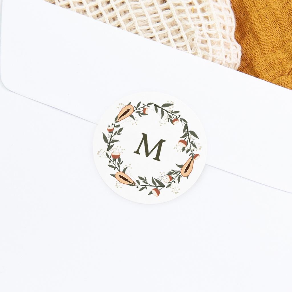 Sticker Enveloppe Naissance Couronne exotique, papayes & fleurs gratuit