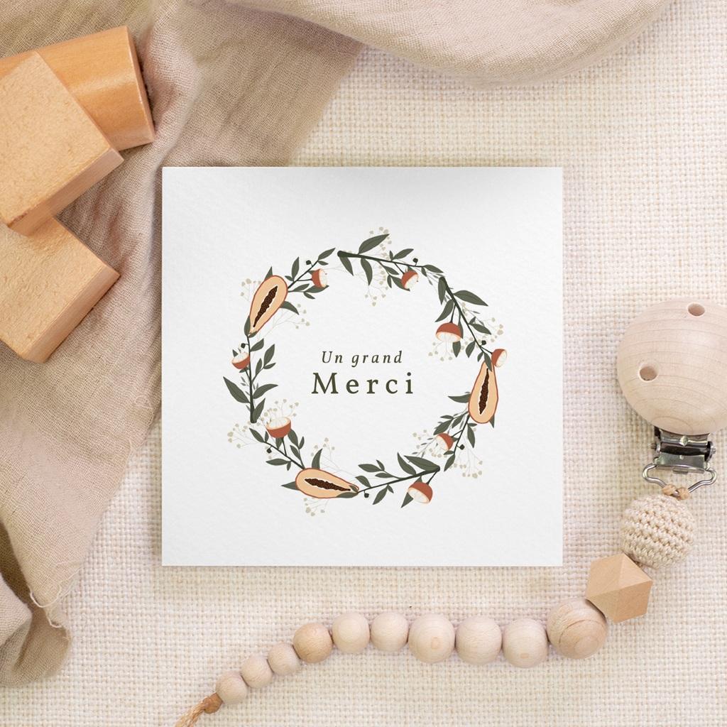 Carte de Remerciement Naissance Couronne exotique, 10 x 10 gratuit