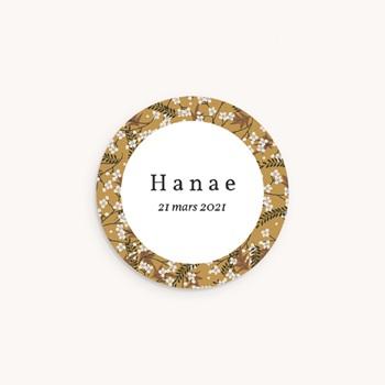 Sticker Enveloppe Naissance Liberty Cerisier, Médaillon prénom fille personnalisé