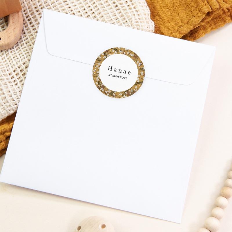 Sticker Enveloppe Naissance Liberty Cerisier, Médaillon prénom fille pas cher