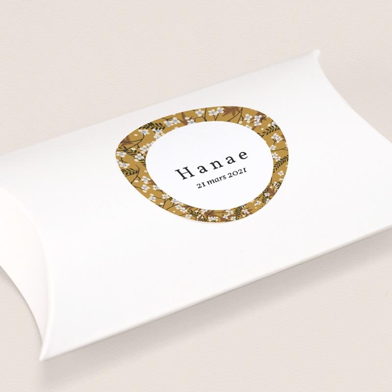 Sticker Enveloppe Naissance Liberty Cerisier, Médaillon prénom fille