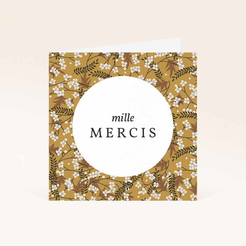Carte de Remerciement Naissance Liberty cerisier Curry, 9,5 x 9,5 cm