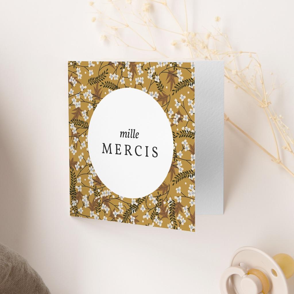 Carte de Remerciement Naissance Liberty cerisier Curry, 9,5 x 9,5 cm gratuit