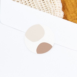 Sticker Enveloppe Naissance Suspension Fleurs, teintes naturelles, 4,5 cm