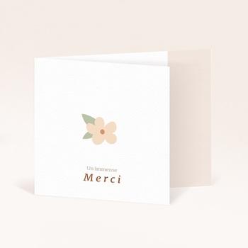 Carte de Remerciement Naissance Suspension Fleurs, pli decalé original