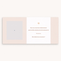 Carte de Remerciement Naissance Suspension Fleurs, pli decalé pas cher