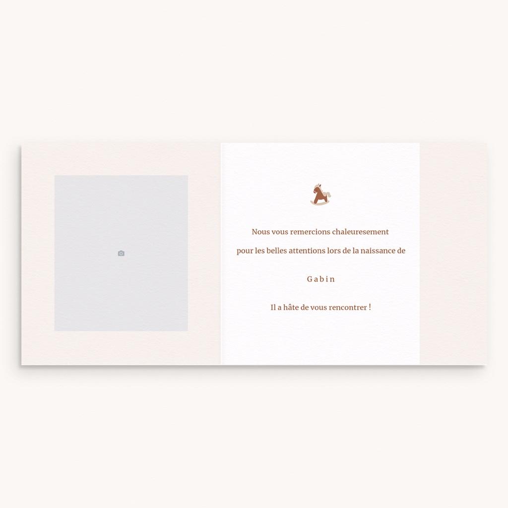Carte de Remerciement Naissance Mobile Chevaux, pli décalé pas cher