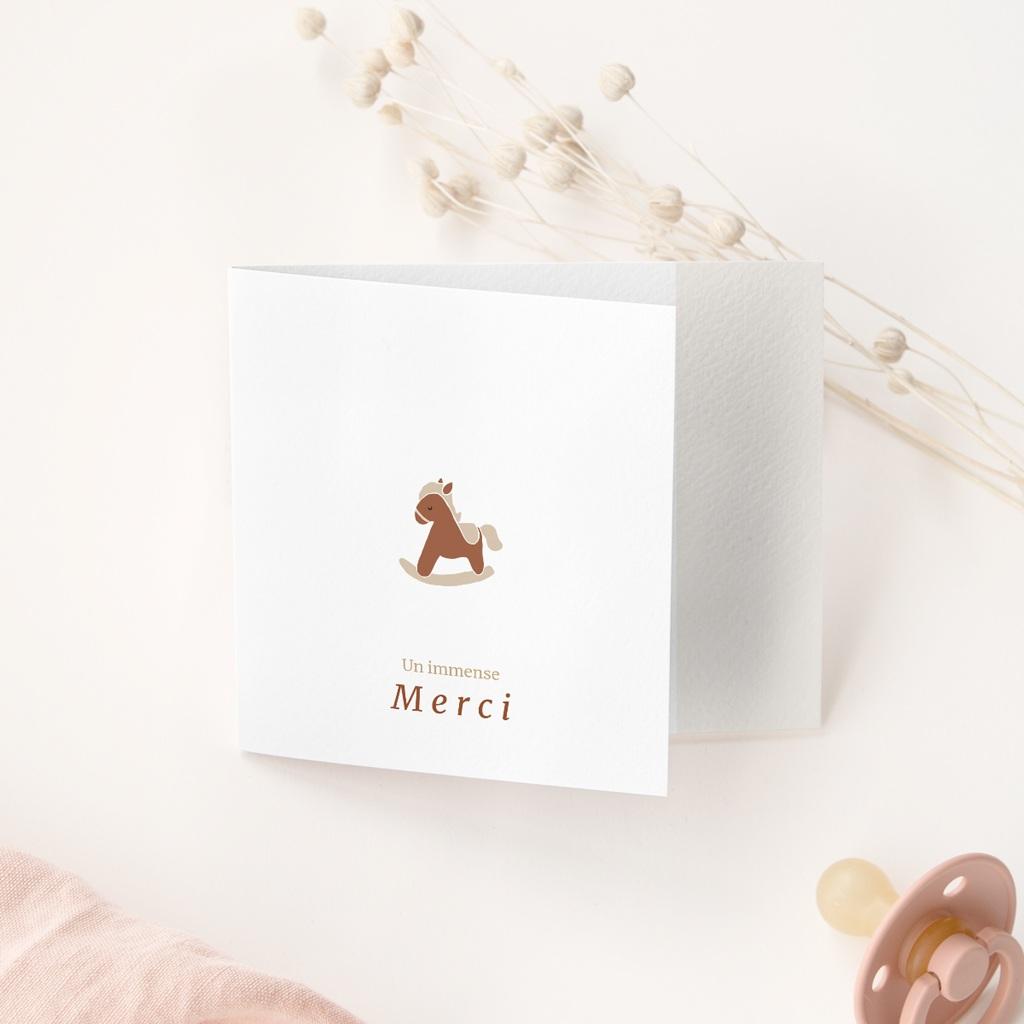 Carte de Remerciement Naissance Mobile Chevaux, pli décalé gratuit
