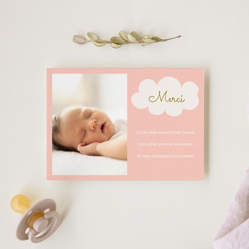 Carte de Remerciement Naissance Septième Ciel Fille gratuit