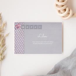 Carte de Remerciement Naissance Lilas gratuit