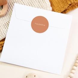 Sticker Enveloppe Naissance Prénom Terracotta, sticker 4,5 cm pas cher