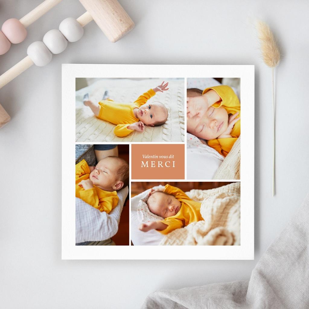 Carte de Remerciement Naissance Multiphoto Initiale Terracotta