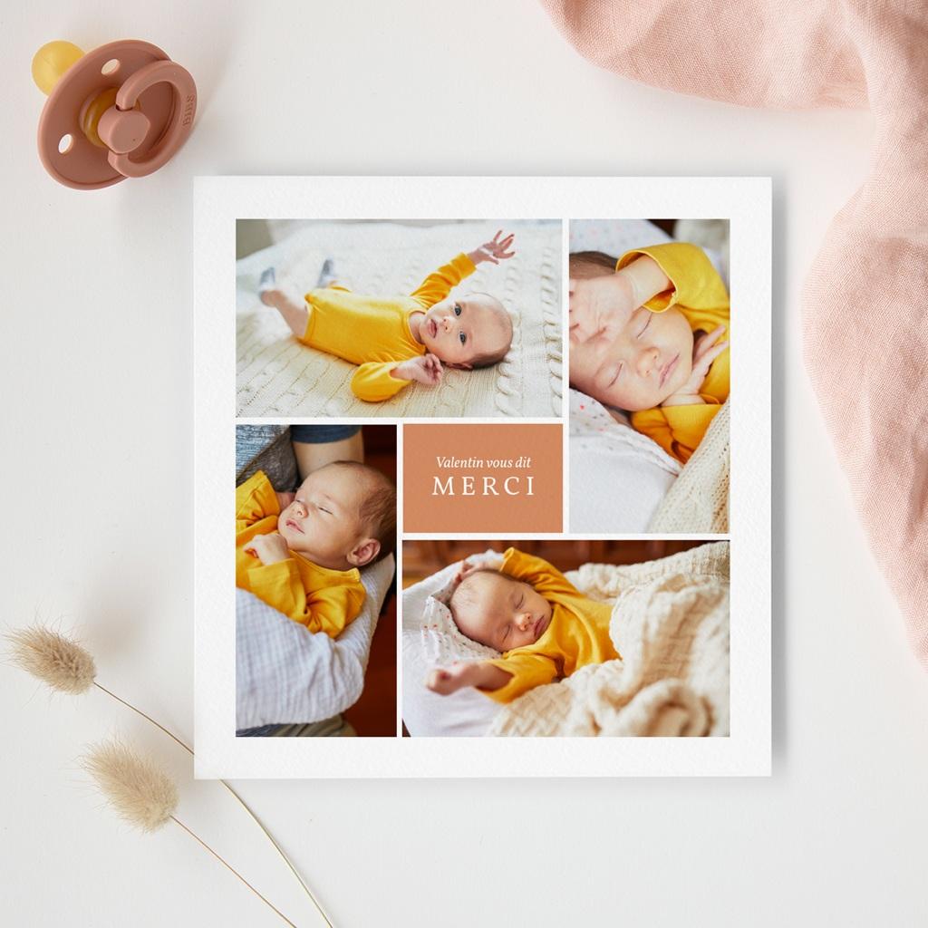 Carte de Remerciement Naissance Multiphoto Initiale Terracotta gratuit