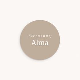 Sticker Enveloppe Naissance Beige rosé, prénom sticker, 4,5 cm