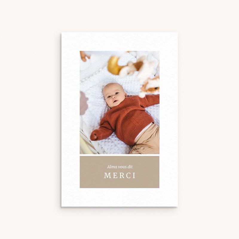 Carte de Remerciement Naissance Multiphoto Beige Rosé