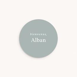 Sticker Enveloppe Naissance Prénom Gris Bleuté, 4,5 cm