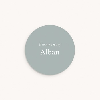 Sticker Enveloppe Naissance Prénom Gris Bleuté, 4,5 cm personnalisé