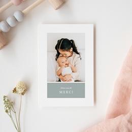 Carte de Remerciement Naissance Multiphoto Gris Bleu gratuit