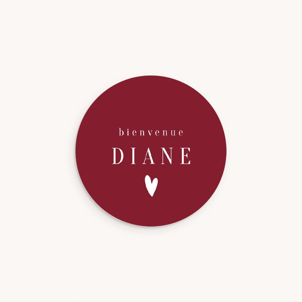 Sticker Enveloppe Naissance Prénom fond rouge, Petit coeur, 4,5 cm
