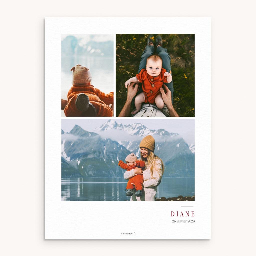Affiche Déco Chambre Enfant Multiphotos du bonheur, initiale fond rouge