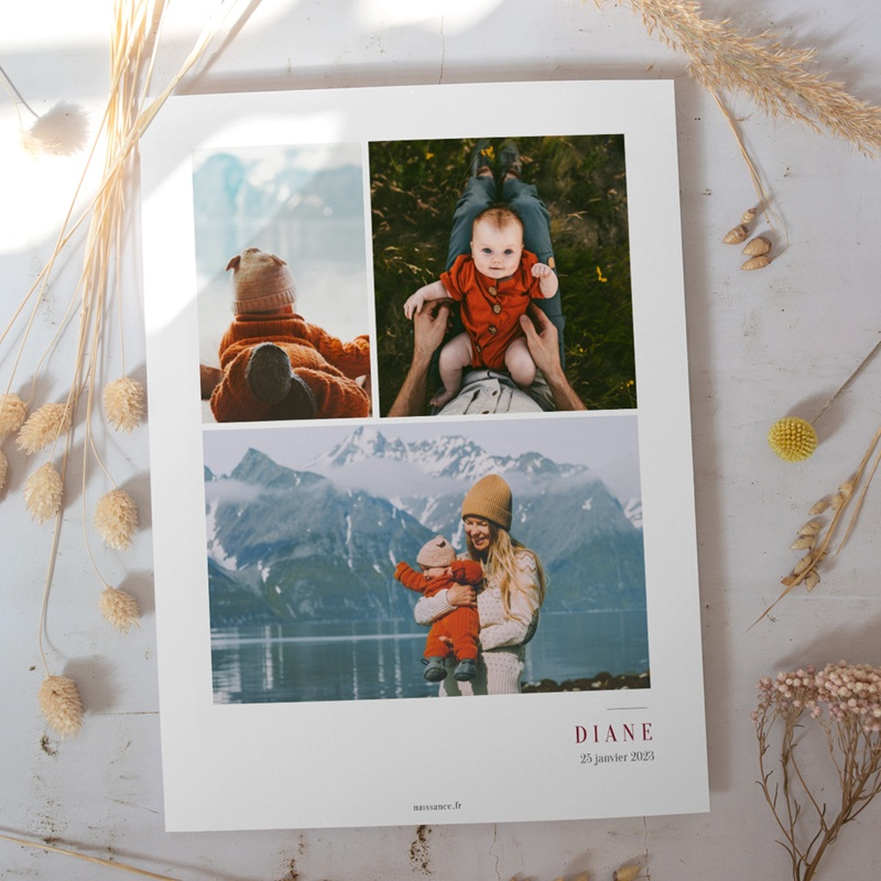 Affiche Déco Chambre Enfant Multiphotos du bonheur, initiale fond rouge gratuit