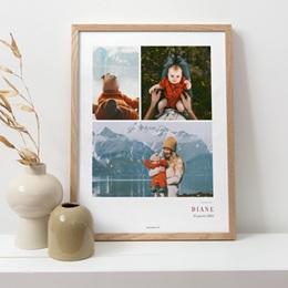 Affiche Déco Chambre Enfant Multiphotos du bonheur, initiale fond rouge pas cher