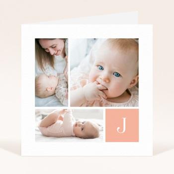 Faire-part de Naissance Multiphotos du bonheur, initiale fond rouge original