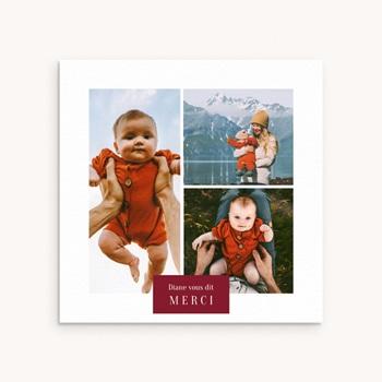 Carte de Remerciement Naissance Multiphotos du bonheur, initiale fond rouge pas cher