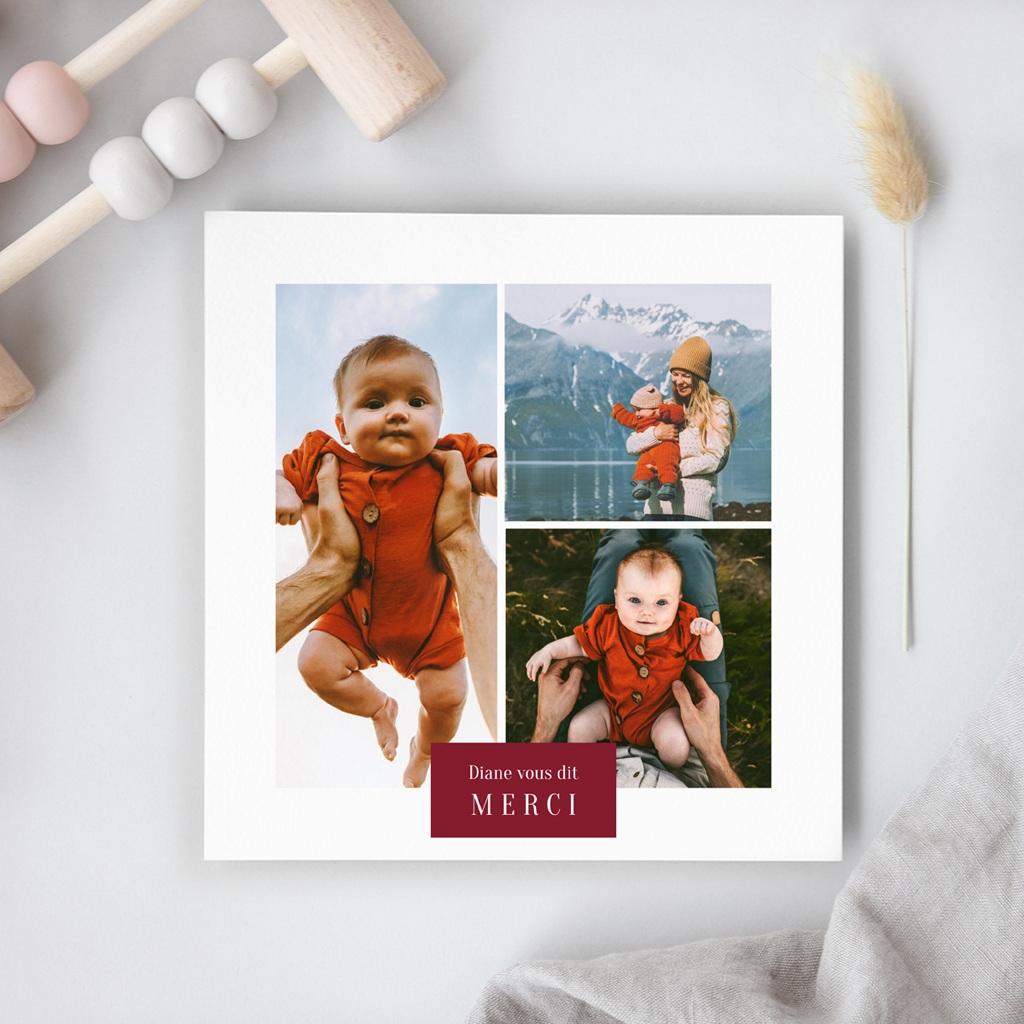 Carte de Remerciement Naissance Multiphotos du bonheur, initiale fond rouge