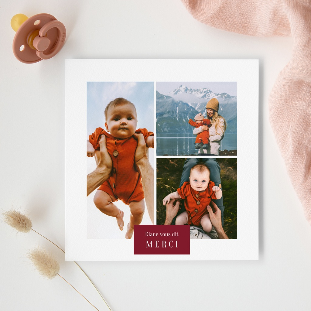 Carte de Remerciement Naissance Multiphotos du bonheur, initiale fond rouge gratuit