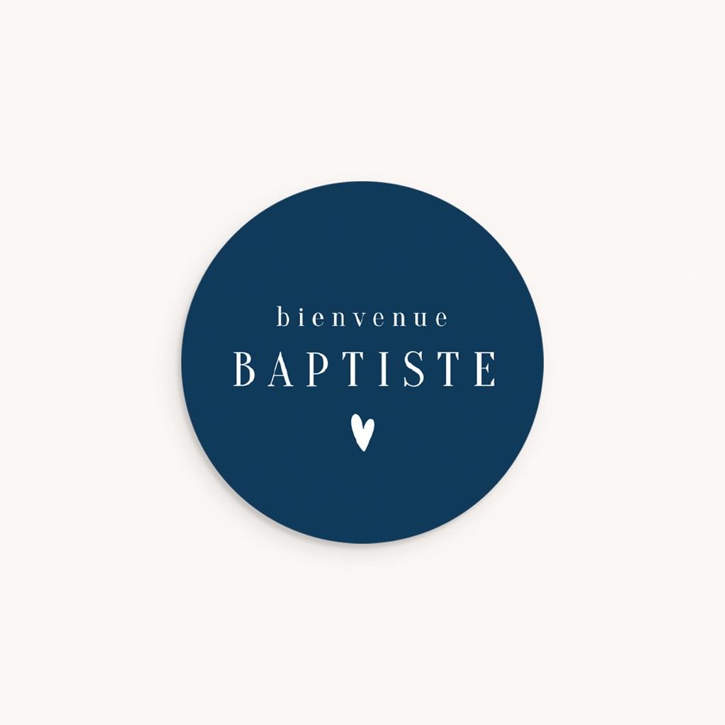 Sticker Enveloppe Naissance Prénom fond Bleu, Petit Coeur, 4,5 cm