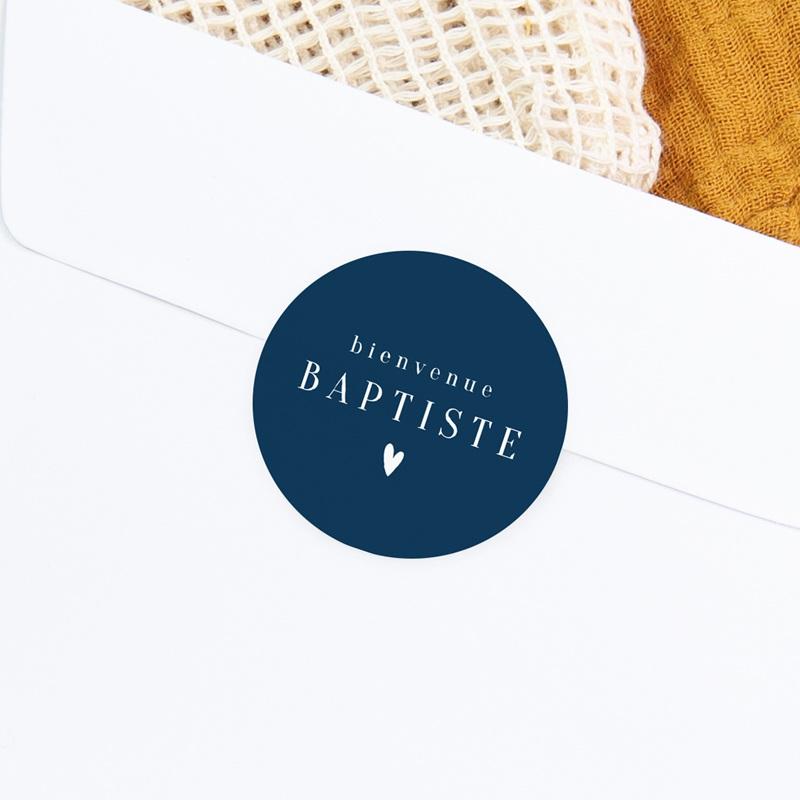Sticker Enveloppe Naissance Prénom fond Bleu, Petit Coeur, 4,5 cm gratuit
