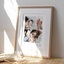 Affiche Déco Chambre Enfant Multiphotos du bonheur, initiale fond bleu